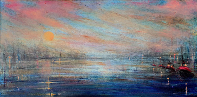 "John LeCours | Portsmouth Harbor at Twilight #3 | Oil on Canvas | 10"" X 20"" 