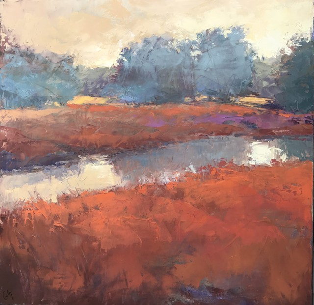 "Margaret Gerding | River Refleciton with Red | Oil on Canvas | 24"" X 24"" 