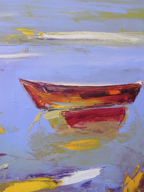 "Janis H. Sanders | Red Skiff, Marsh Edge | Oil on Canvas | 18"" X 14"" 