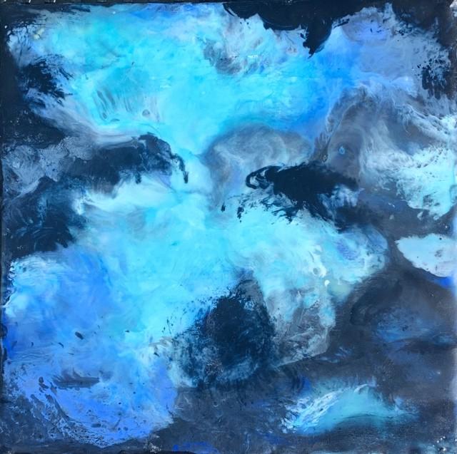 "Kathy Ostrander Roberts | Galaxy | Encaustic on Birch Panel | 8"" X 8"" | Sold"