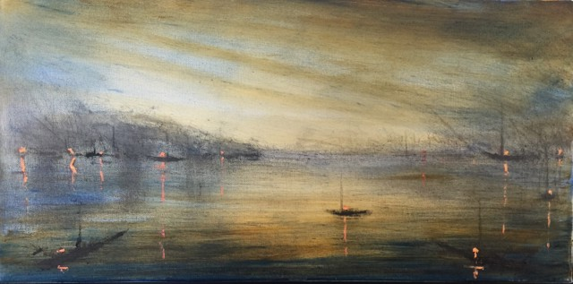 "John LeCours | Harbor at Dawn | Oil on Canvas | 10"" X 20"" 