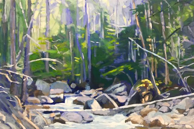 "Liz Hoag | View Upstream II | Acrylic on Canvas | 24"" X 36"" | Sold"