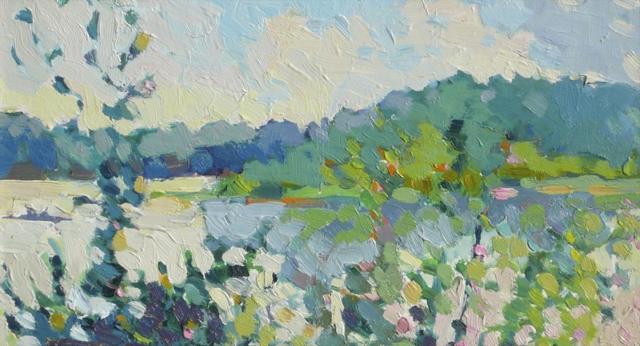 "Henry Isaacs | Lake Bunyoni, Uganda | Oil on Panel | 8"" X 14"" | Sold"