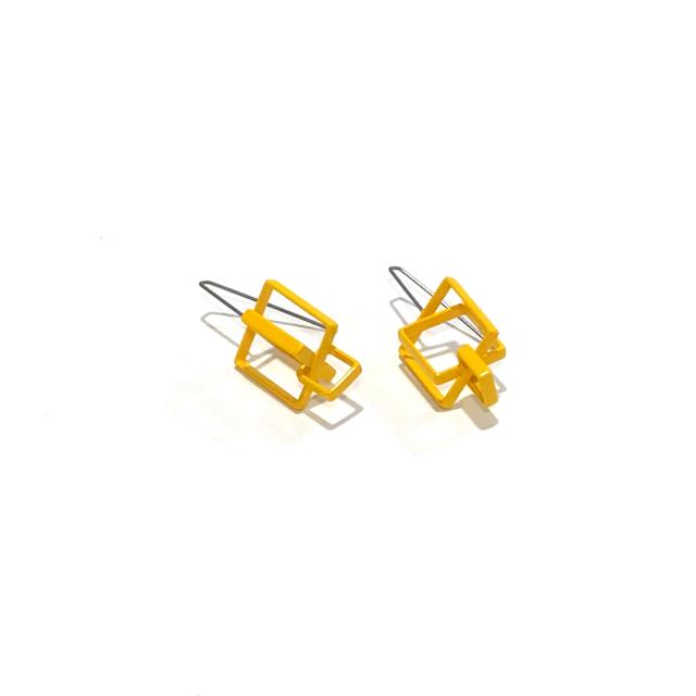 Powder Coated Earrings: 3 Medium Yellow Squares