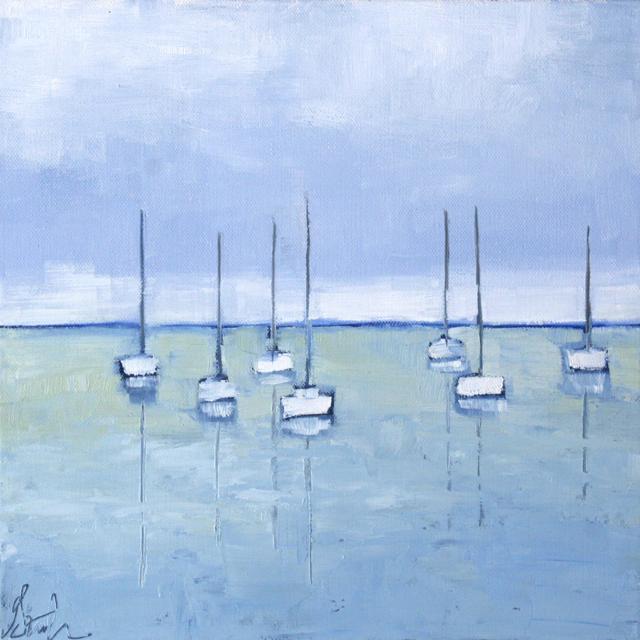 "Ellen Welch Granter | Flotilla | Oil on Canvas | 12"" X 12"" | Sold"