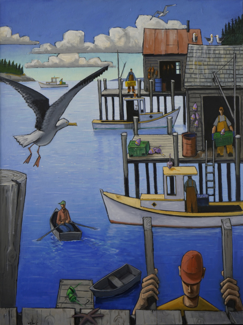 "David Witbeck | Busy Harbor | Oil on Canvas | 48"" X 36"" 