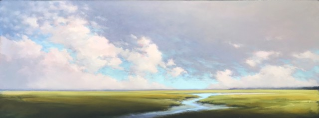 """Margaret Gerding   Layers in the Sky   Oil on Canvas   18"""" X 48""""   $5,000.00"""