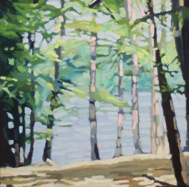 "Liz Hoag | Long Lake | Acrylic on Canvas | 18"" X 18"" | Sold"