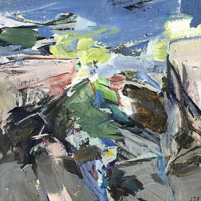 "Jeffrey T. Fitzgerald | Rocky Inlet | Acrylic | 8"" X 8"" | Sold"