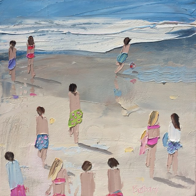 "Bethany Harper Williams | Red and White Beach Ball | Oil | 12"" X 12"" 