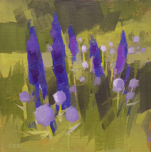 "Philip Frey | Violet and Blue | Oil on Linen Panel | 6"" X 6"" 