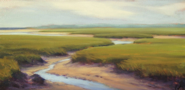 "Margaret Gerding | View from Bridle Path | Oil on Canvas | 10"" X 20"" 