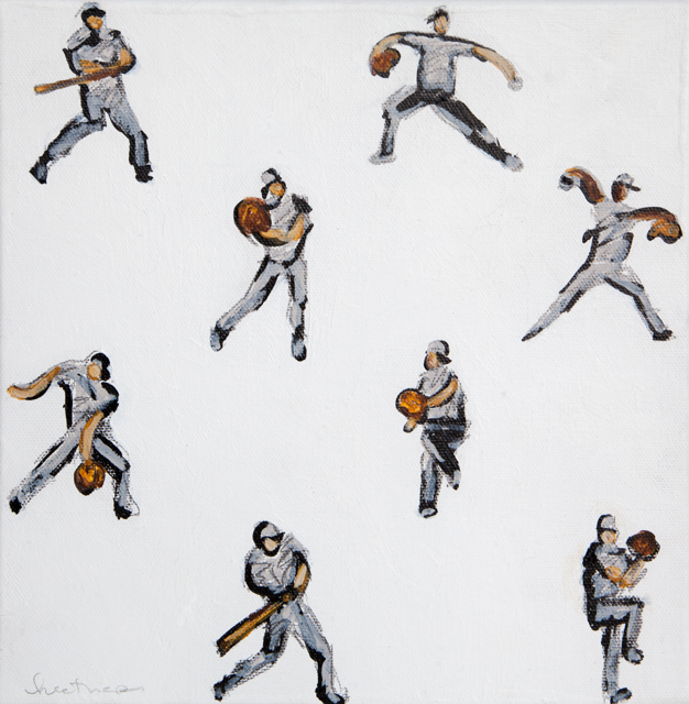 "Heather Blanton | Baseball Study | Acrylic and Pencil on Canvas | 8"" X 8"" 