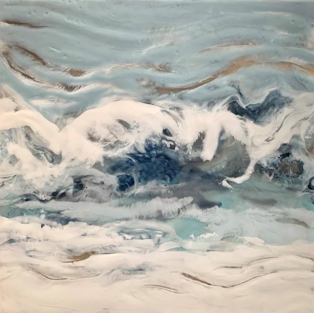 "Kathy Ostrander Roberts | Moon Tide | Encaustic on Panel | 8"" X 8"" | Sold"