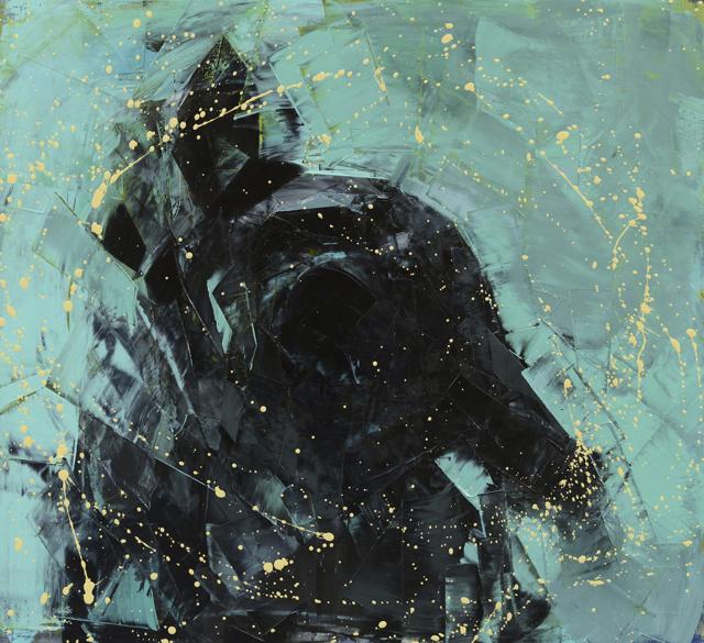 "Rebecca Kinkead | Shake (Black and Teal) | Oil and Wax on Linen | 30"" X 33"" | Sold"