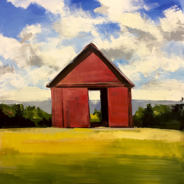 "Craig Mooney | Red Summer Barn | Oil on Canvas | 47"" X 47"" 