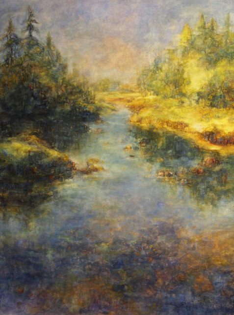 "Susan Wahlrab | Sanctuary | Varnished Watercolor on Archival Claybord | 40"" X 30"" 