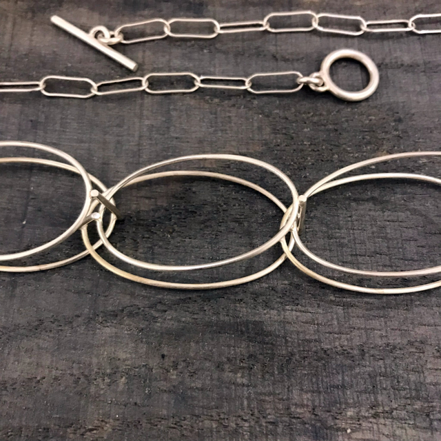 Sterling Silver Necklace: 9 Oval Structures