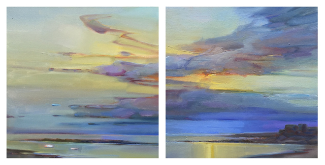 "Holly Ready | Early Day, Still Cove, Diptych | Oil on Canvas | 18"" X 36"" 