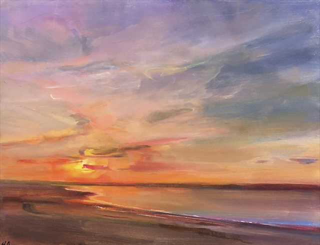 "Holly Ready | Ferry Beach Sunset | Oil on Panel | 14"" X 18"" 