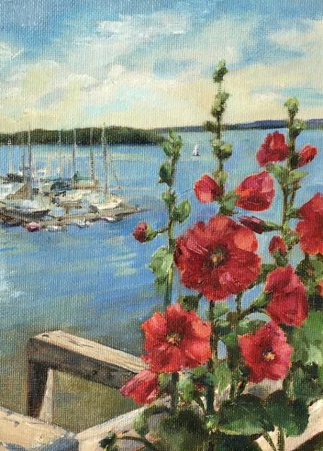 "Karen McManus | Summer Harbor Hollyhocks | Oil | 8"" X 6"" | Sold"