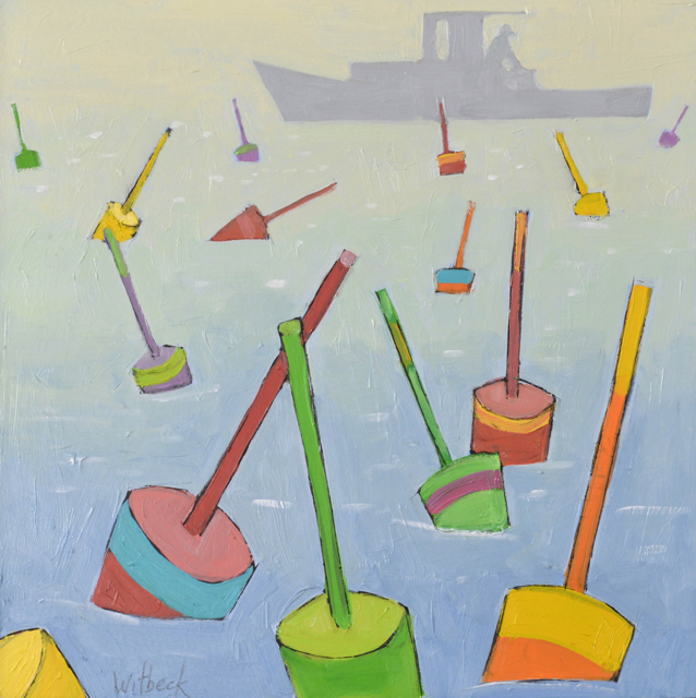"David Witbeck | Buoys #4 | Oil on Panel | 12"" X 12"" 