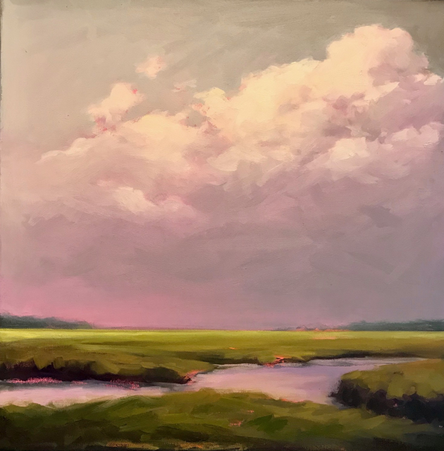 """Margaret Gerding   Clouds of Pink   Oil On Canvas   18"""" X 18""""   $2,800.00"""