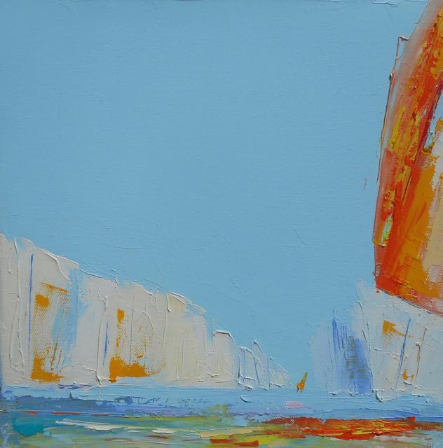 "Janis H. Sanders | Summer Sail VIII | Oil on Canvas | 12"" X 12"" | Sold"