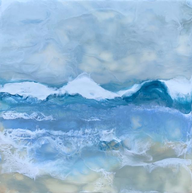 "Kathy Ostrander Roberts | Gooches Beach 1 | Encaustic | 12"" X 12"" | Sold"