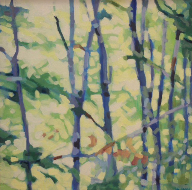 "Liz Hoag | Wet Woods | Acrylic on Canvas | 18"" X 18"" | Sold"