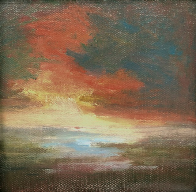"Julie Houck | Sky Dance | Oil on Linen | 6"" X 6"" | Sold"