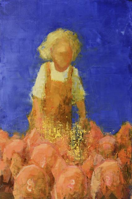 "Rebecca Kinkead | Early Riser (Piglets) | Oil and Wax on Linen | 60"" X 40"" | Sold"