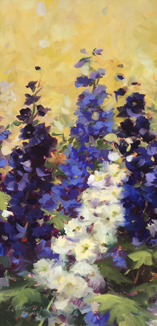 "Sandra L. Dunn | Purple and White Delphinium | Oil | 24"" X 12"" 