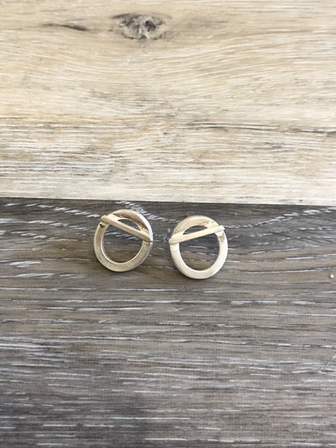 Square Stock Circle with Bar Post Earrings