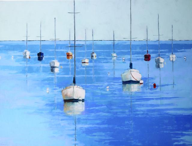 "Ellen Welch Granter | Whisker Plot - Designer's Choice | Oil on Canvas | 36"" X 48"" | Sold"