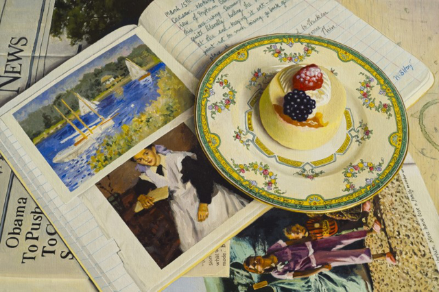 "William B. Hoyt | Creme Chiffon with Berries | Oil | 10"" X 15"" 