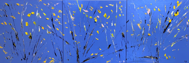 "Janis H. Sanders | Dancing Leaves I, II, III | Oil on Panel | 12"" X 36"" 