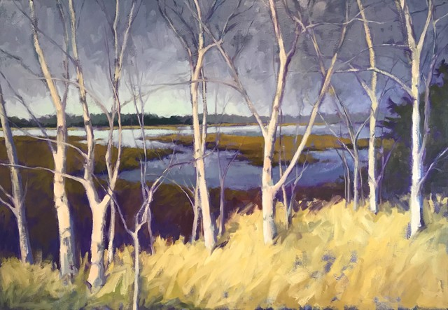 "Margaret Gerding | Trees Along Winter Marsh | Oil on Panel | 42"" X 60"" 