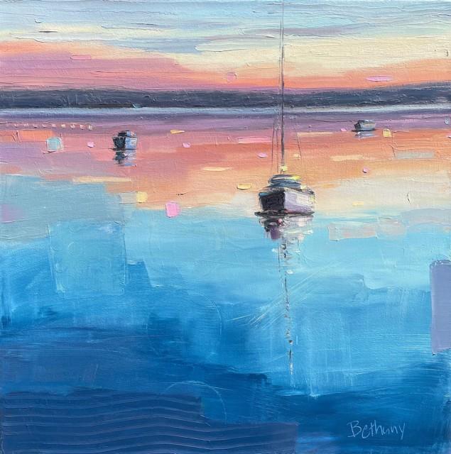 "Bethany Harper Williams   Stillness at Sunset   Oil on Canvas   21"" X 21""   Sold"
