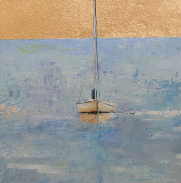 "Ellen Welch Granter | Bonnie | Oil and Metal Leaf on Panel | 12"" X 12"" | Sold"