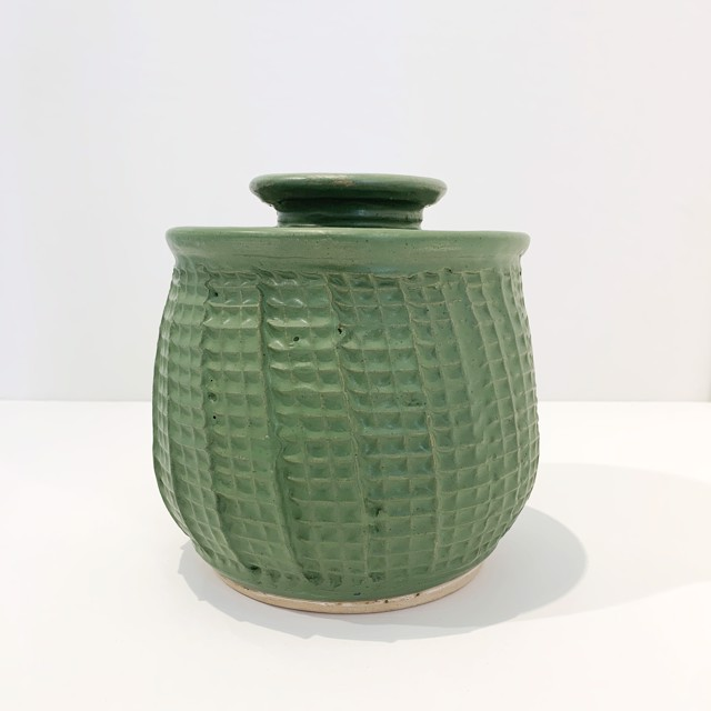 "Richard Winslow | Green Textured Lidded Pot Medium | Ceramic | 7"" X 6"" | $90.00"
