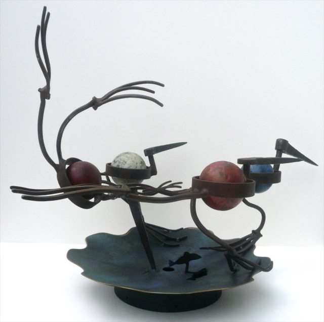 "Patrick Plourde | Croquet Loons over Pond | Mixed Media Sculpture | 36"" X 22.5"" 