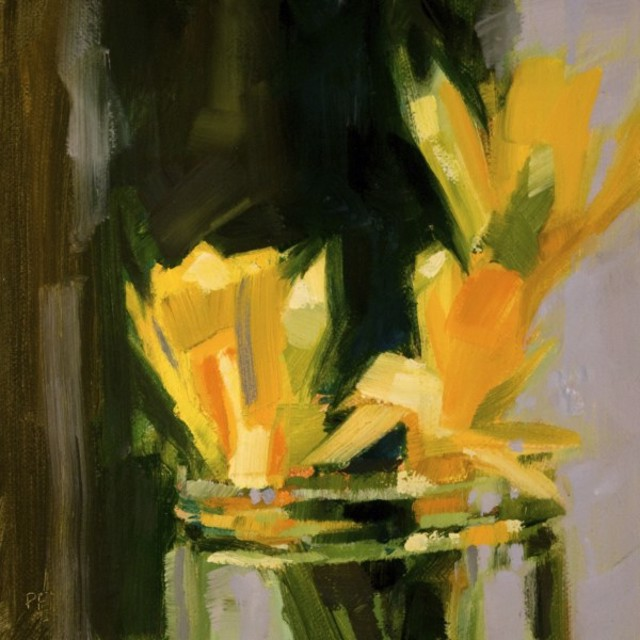 "Philip Frey | Hoping for Spring | Oil on Linen Panel | 6"" X 6"" | $500.00"
