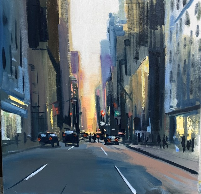 "Craig Mooney | Streets Aglow | Oil on Canvas | 24"" X 24"" 