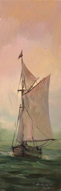 "Sandra L. Dunn | Emerald Sea | Oil on Canvas | 12"" X 4"" | Sold"