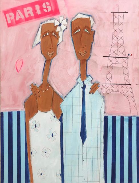 "Rick Hamilton   Meet Me in Paris   Acrylic on Canvas   40"" X 30""   Sold"