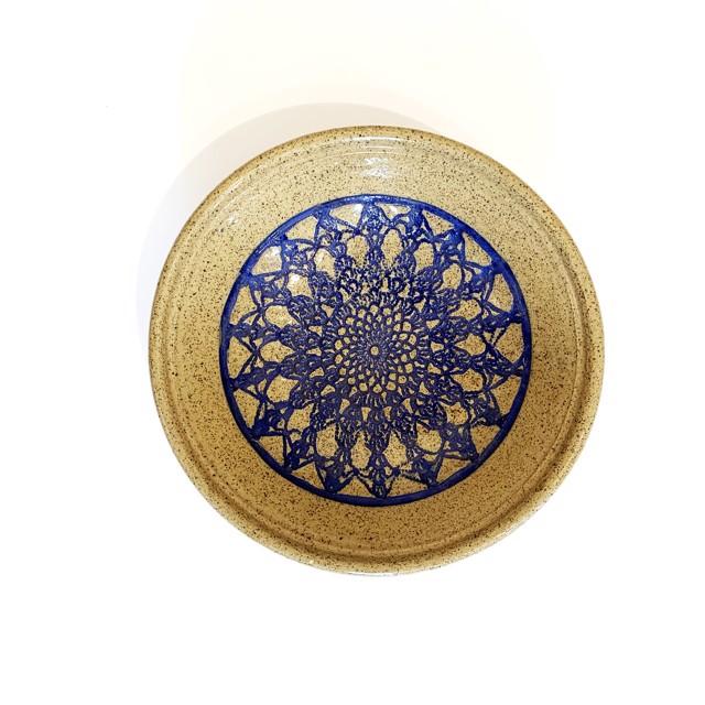 "Richard Winslow | Deep Blue Textured Dish | Ceramic | 3.5"" X 10"" | Sold"