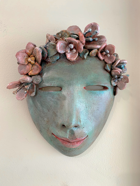 "Elizabeth Ostrander | Pink Delight & Love | Acrylic on Ceramic with Beach Glass Eyes | 10"" X 9.25"" 