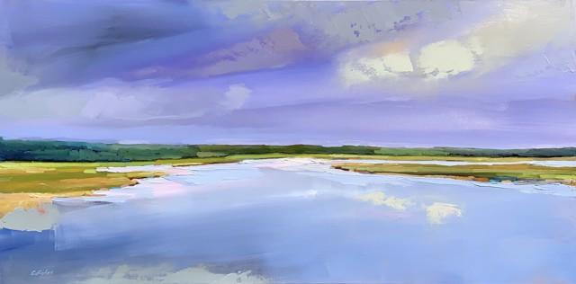 "Claire Bigbee | Heavenly Sky, Ogunquit River Footbridge Beach | Oil on Canvas | 24"" X 48"" | $3,650.00"