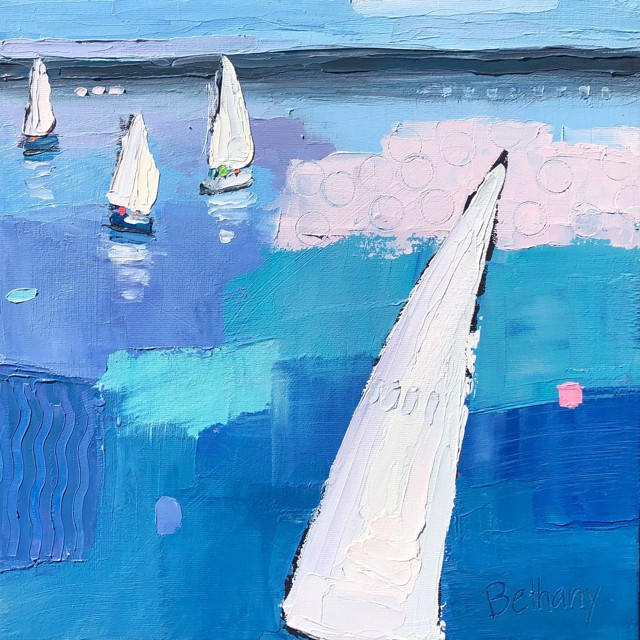 "Bethany Harper Williams | Summer Sail | Oil on Canvas | 12"" X 12"" 